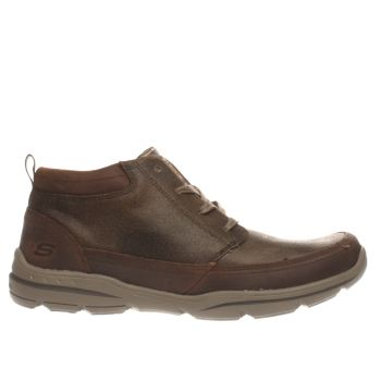 SKECHERS BROWN HARPER BILNEY BOOTS