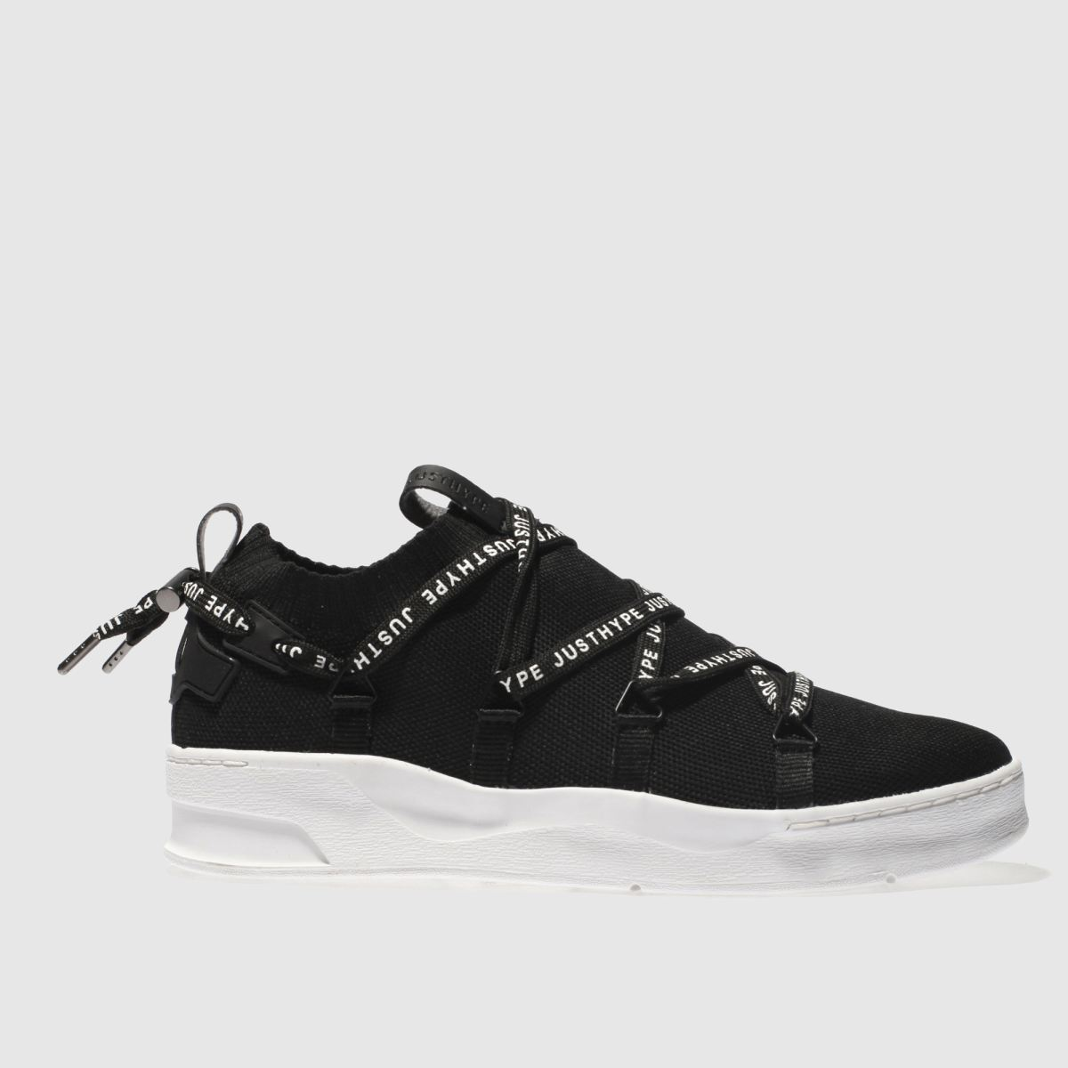 Hype Hype Black Branded Tape Cup Trainers