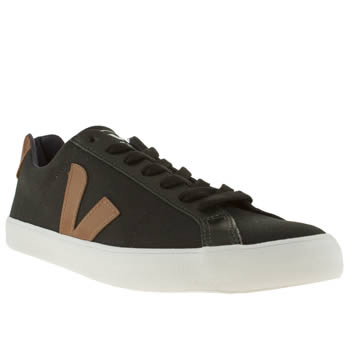 mens veja black & brown esplar canvas trainers