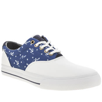 Mens Polo Ralph Lauren White & Blue Vaughn Sa Shoes