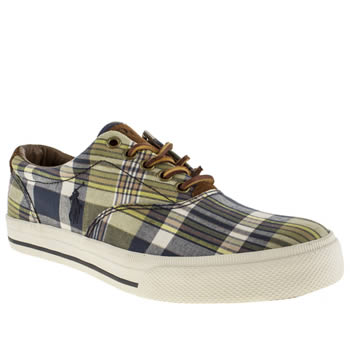 mens polo ralph lauren navy & green vaughn shoes