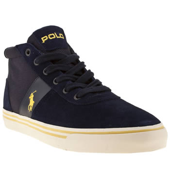 Mens Polo Ralph Lauren Navy & White Hanford Mid Sd Boots