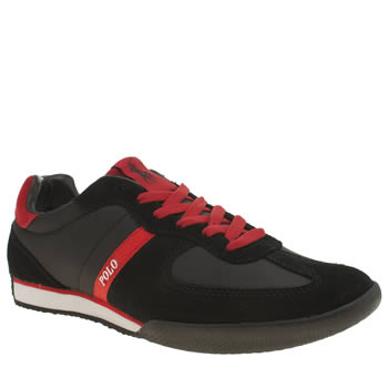 Mens Polo Ralph Lauren Black & Red Jacory Trainers