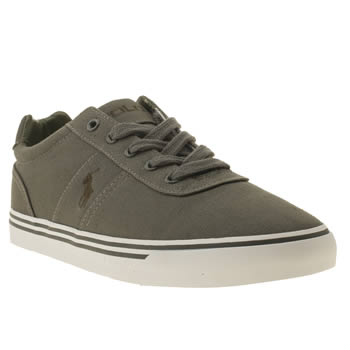 mens polo ralph lauren dark grey hanford canvas trainers