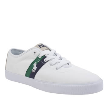 Mens Polo Ralph Lauren White & Green Halford Trainers