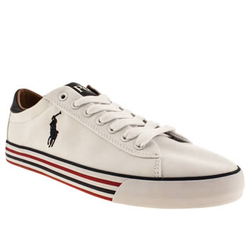 Mens Polo Ralph Lauren White & Navy Harvey Shoes