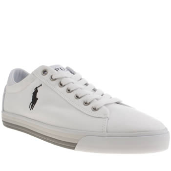 Mens Polo Ralph Lauren White & grey Harvey Canvas Shoes
