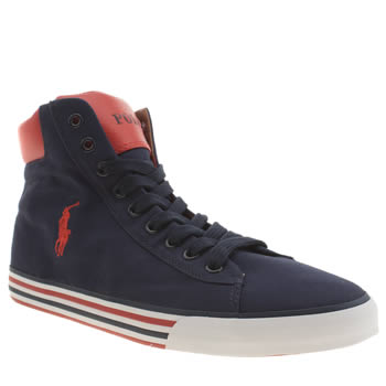 Mens Polo Ralph Lauren Navy Harvey Mid Trainers