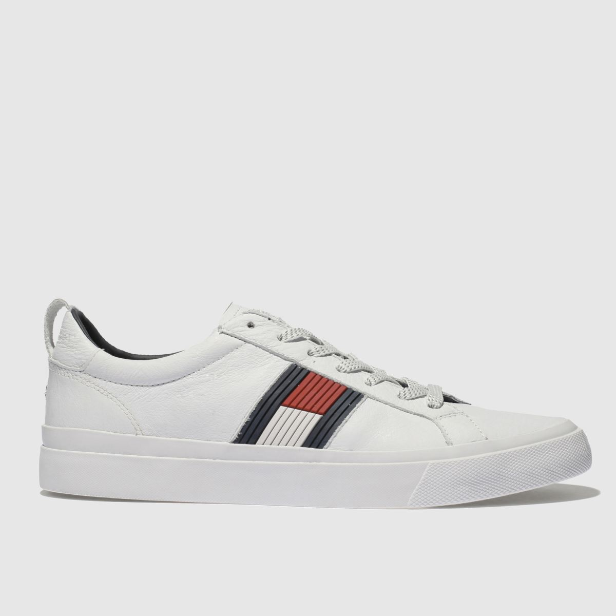 Tommy Hilfiger Tommy Hilfiger White & Navy Flag Detail Sneaker Trainers