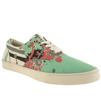 mens bucketfeet green & stone bad panda lace trainers