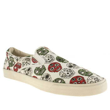 Mens Bucketfeet White & Green Catrinas Slip Trainers