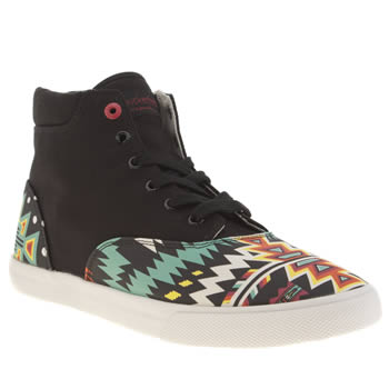Bucketfeet Black & Green Archer Mid Shoes