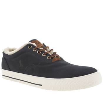 Polo Ralph Lauren Navy Vaughn Shearling Trainers