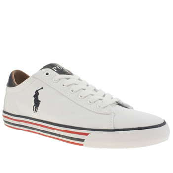Polo Ralph Lauren White & Navy Harvey Mens Shoes