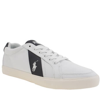 Polo Ralph Lauren White & Navy Hugh Cv Trainers