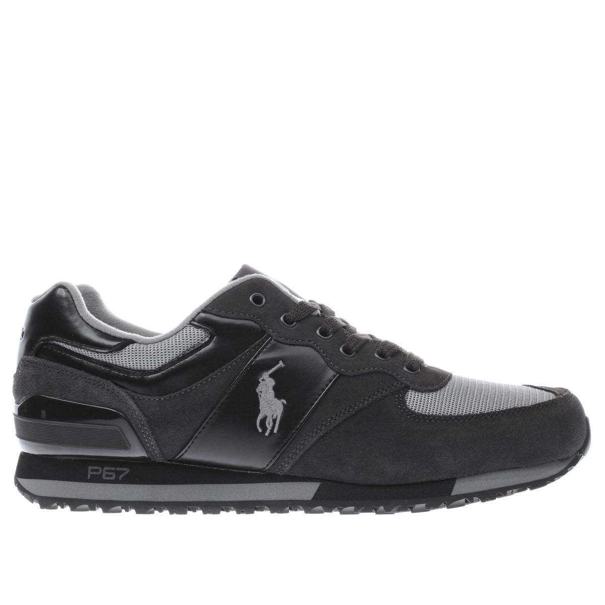 polo ralph lauren dark grey slaton polo trainers