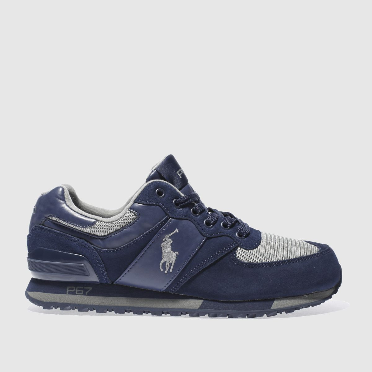 polo ralph lauren navy & grey slaton polo trainers
