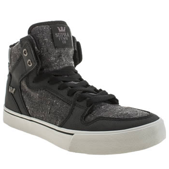 Mens Supra Grey & Black Vaider Trainers