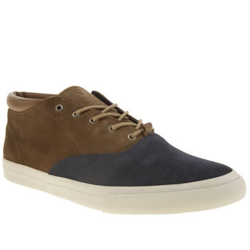 Mens Veja Brown & Navy Transatlantico Trainers