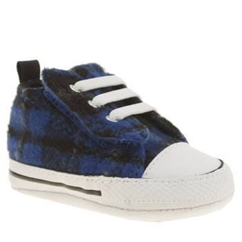 Converse Black and blue All Star Ox Plaid Easy Slip Boys Baby