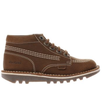 Kickers Brown Kick Hi Leather Boys Toddler