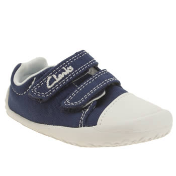 CLARKS NAVY & WHITE LITTLE CHAP BOYS TODDLER SHOES