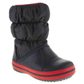 Crocs Navy & Red Winter Puff Boot Boys Junior