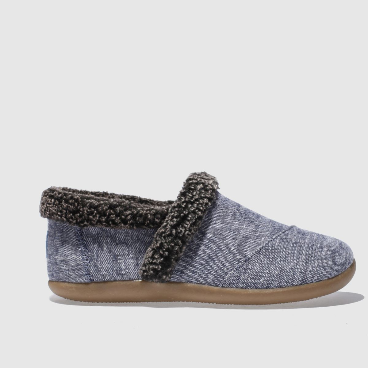 toms navy house slipper Boys Junior Shoes