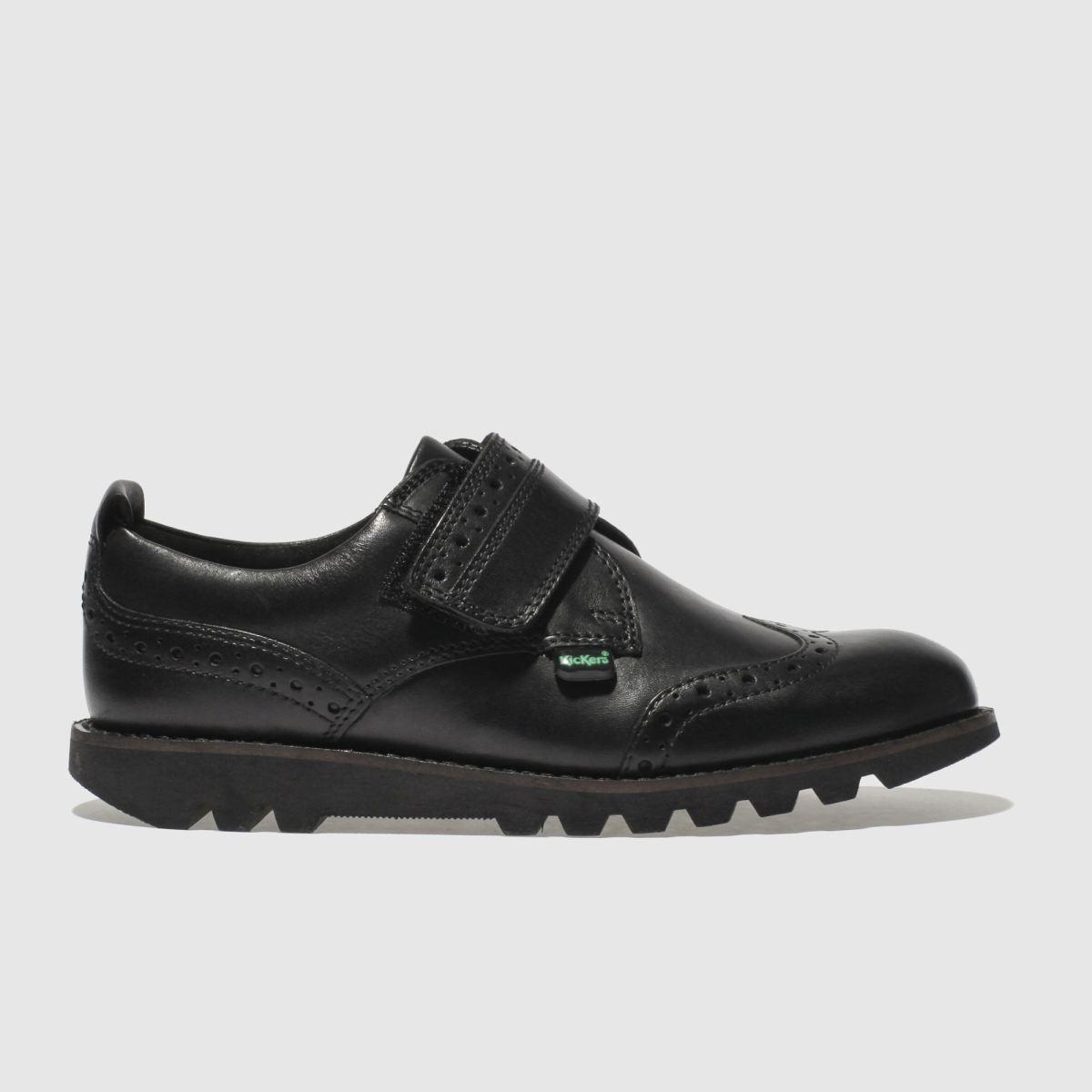 Kickers Black Kymbo Brogue Strap Boys Junior Shoes