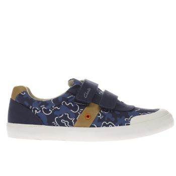 Clarks Navy & White Comic Zone Boys Junior
