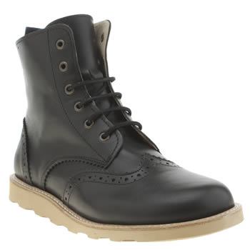 Young Soles Black Sidney Brogue Boot Boys Junior