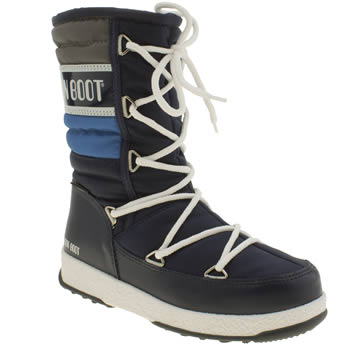 Moon Boot Navy & White Quilted Junior Boys Junior