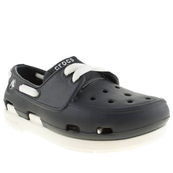 Crocs Navy & White Beach Line Boat Shoe Boys Toddler