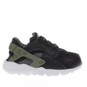 NIKE BLACK & GREEN HUARACHE RUN BOYS TODDLER TRAINERS