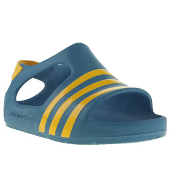 Boys Adidas Blue & Yellow Adilette Play Boys Toddler