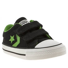 Toddler Black & Green Converse Star Player Ox