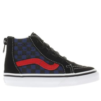 Vans Black and blue CHECKERBOARD SK8-HI ZIP Boys Toddler
