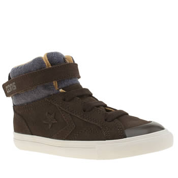 CONVERSE DARK BROWN PRO BLAZE STRAP BOYS TODDLER TRAINERS