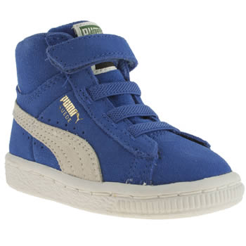 kids puma blue suede classic mid trainers