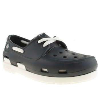 Crocs Navy & White Beach Line Boat Shoe Boys Junior