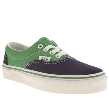 kids vans navy & green era trainers