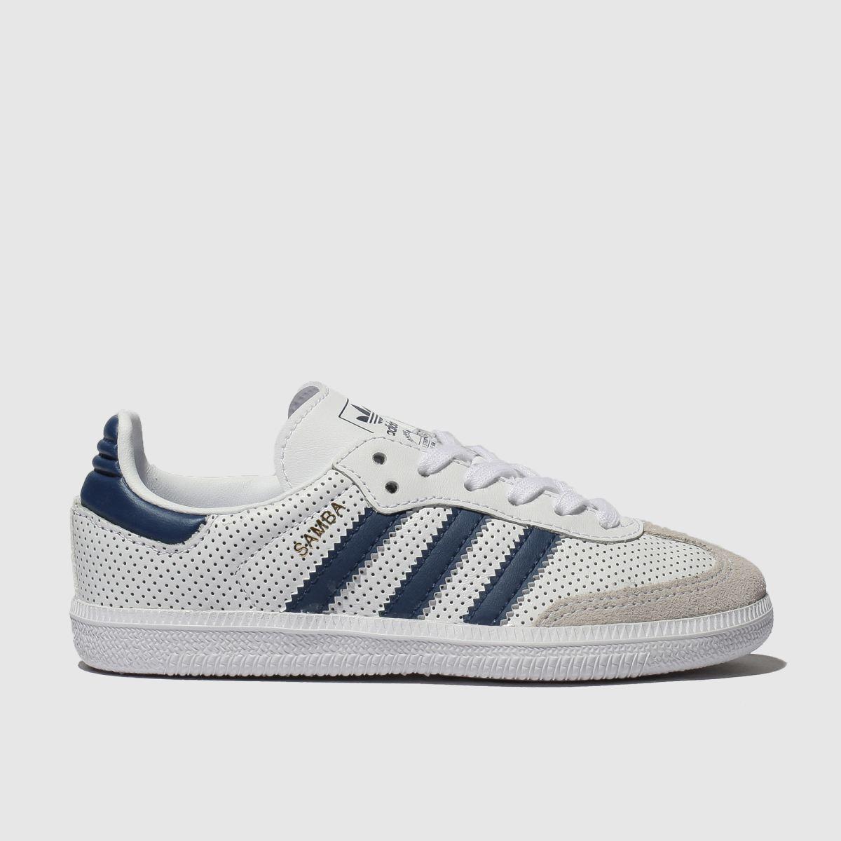 Adidas White & Blue Samba Og Trainers Junior