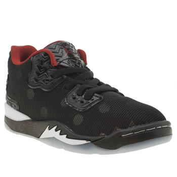 NIKE JORDAN  BLACK & RED JORDAN SPIKE FORTY BOYS JUNIOR TRAINERS