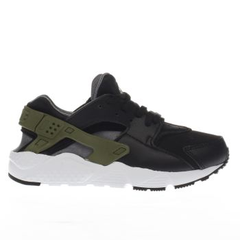 Nike Black & Green Huarache Run Boys Junior