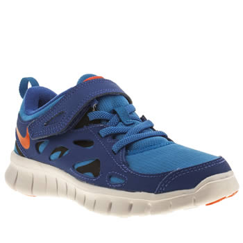 kids nike blue free 2-0 trainers