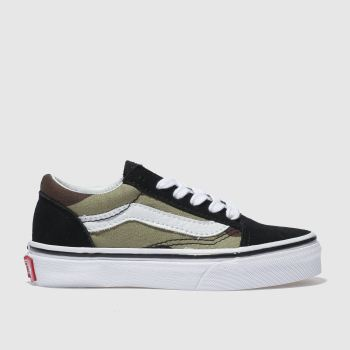 kids vans black & green old skool v trainers