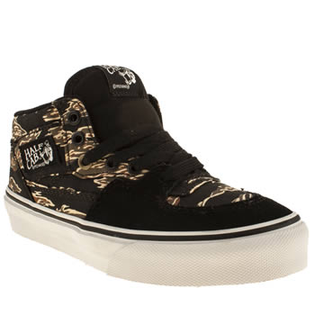 kids vans black & brown half cab trainers