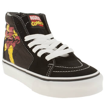 kids vans black sk8-hi marvel trainers