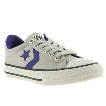 kids converse grey & navy cons star player ox jnr trainers