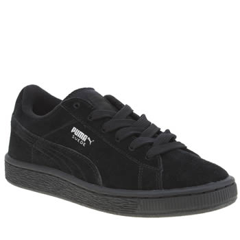 Puma Black & Silver Suede Boys Junior